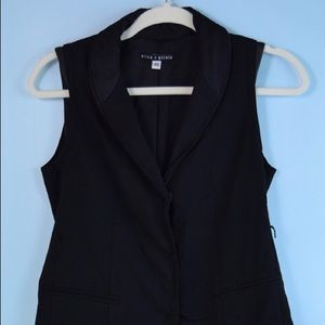 ALICE & OLIVIA black leather trim vest XS